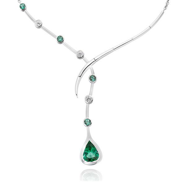 Paraiba Mozambique tourmalines and diamond necklace in 18 carat gold