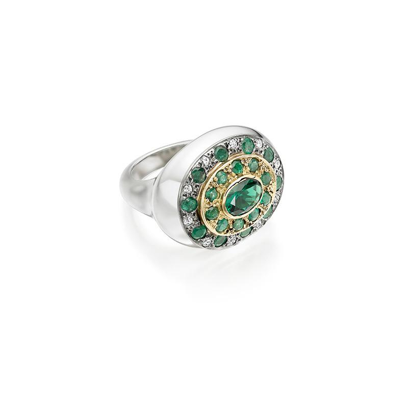 Emerald and diamond pendant converted into a stylish cocktail ring