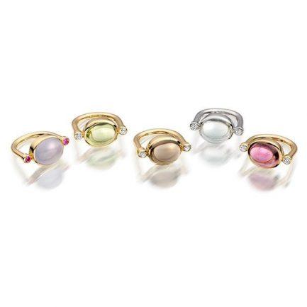 Blue chalcedony and pink sapphire; Peridot, smokey quartz, aquamarine and pink tourmaline with diamond in 18 carat gold
