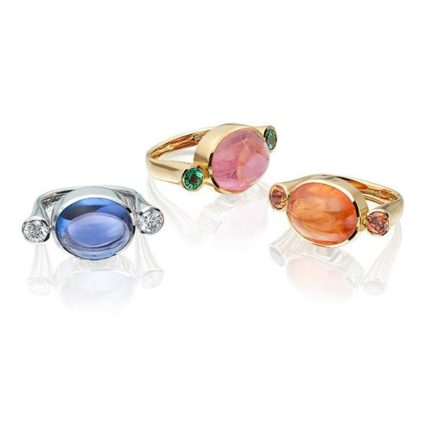 Tanzanite and diamond, pink tourmaline and tsavorite garnet and spessartite garnet in 18 carat gold