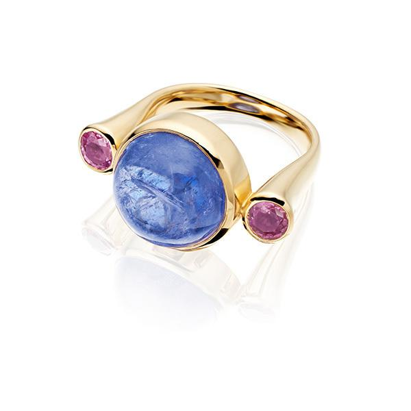 Tanzanite and pink tourmaline in 18 carat gold