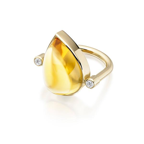 Citrine drop and diamond in 18 carat gold