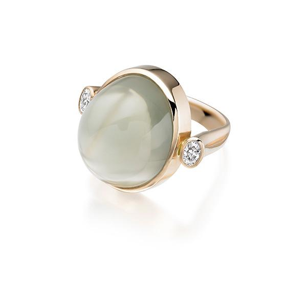 Green moonstone and oval diamonds in 18 carat rose gold