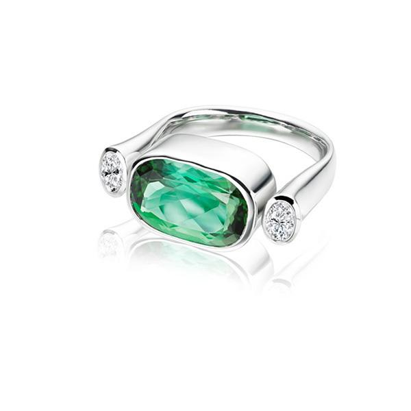 Namibia tourmaline and diamonds in 18 carat white gold