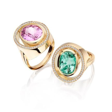 Peacock rings Kunzite and green tourmaline with pave set diamonds in 18 carat gold