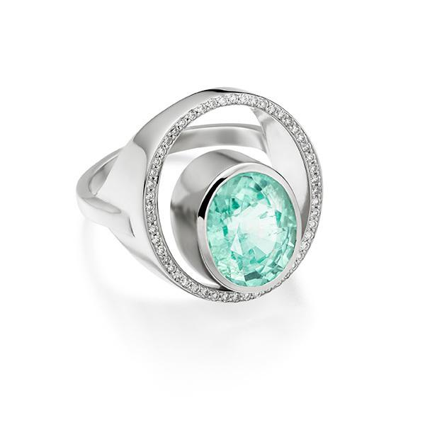 Peacock ring Paraiba Mozambique and pave set diamonds in 18 carat gold