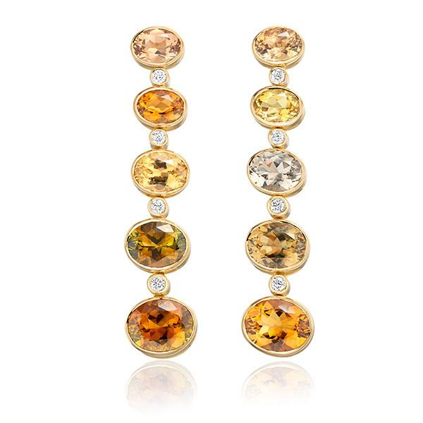 Tourmaline and diamond earrings in 18 carat gold