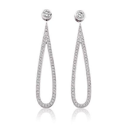 Diamond and pave set diamond loop earrings
