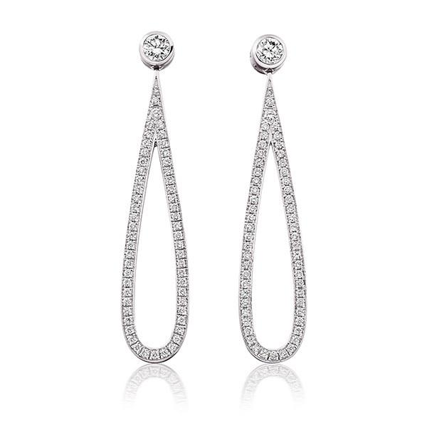 Diamond and pave set diamond loop earrings