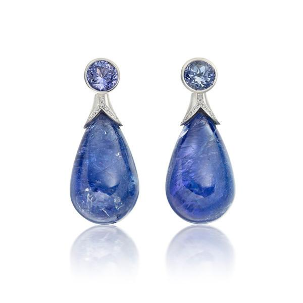 Tanzanite drop earrings in 18 carat gold