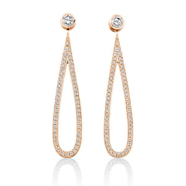 Diamond and pave set diamond loop earrings in 18 carat rose gold