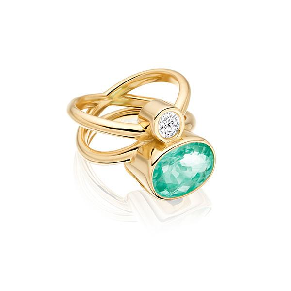 Paraiba tourmaline Mozambique and diamond in 18 carat gold