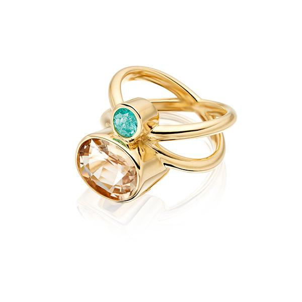 Paraiba tourmaline Brazil and champagne tourmaline in 18 carat gold