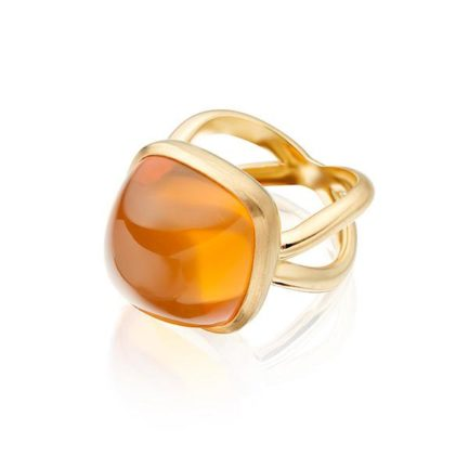 Fire opal antique cut cabochon in 18 carat gold