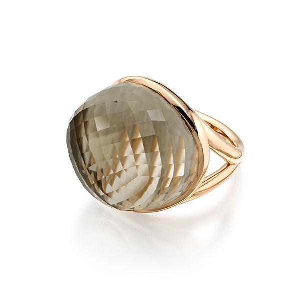 Smokey quartz in 18 carat rose gold