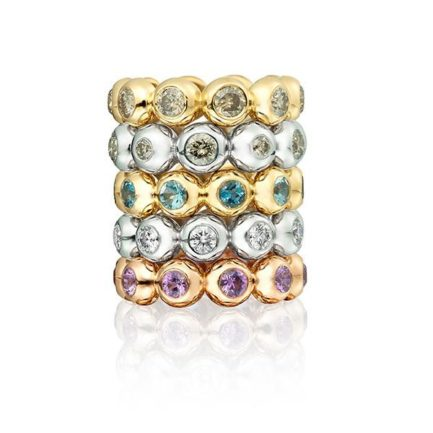 Camilla stack rings with champagne diamonds, aquamarine and pink sapphire in 18 carat gold