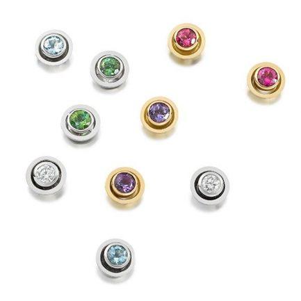 Tita earrings with diamond, aquamarine, pink tourmaline and tsavorite set in 18 carat gold