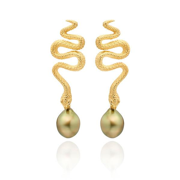 Snake earrings with Tahitian pearls set in 18 carat gold