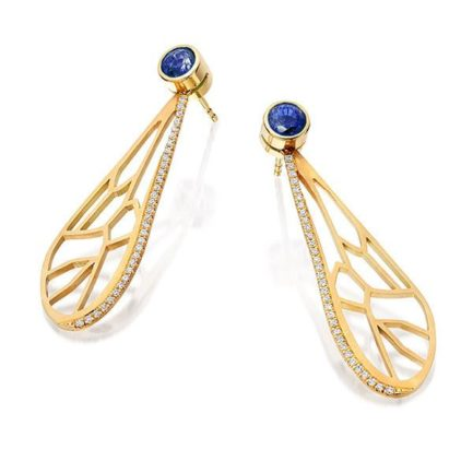 Bee wing earrings with diamond and zirkon in 18 carat gold