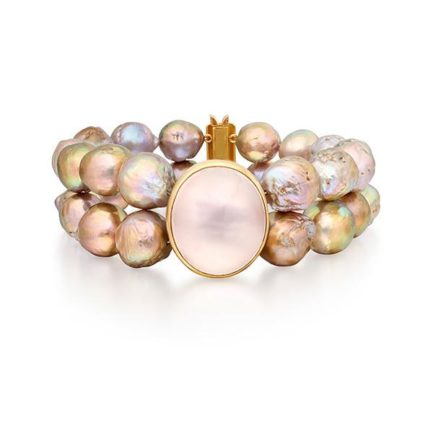 Metallic freshwater pearl and rose quartz bracelet in 18 carat gold