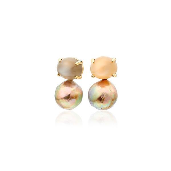 Moonstone and metallic freshwater pearl earrings in 18 carat gold
