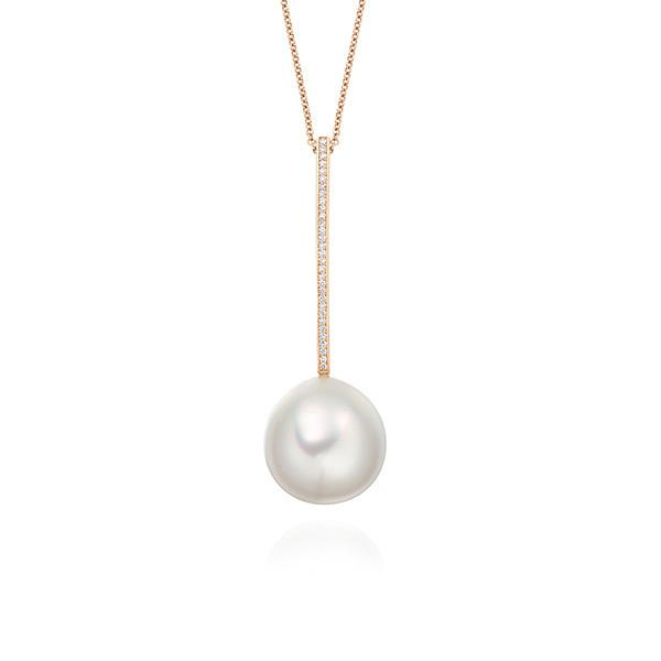 South Sea pearl and diamond pendant set in 18 carat rose gold
