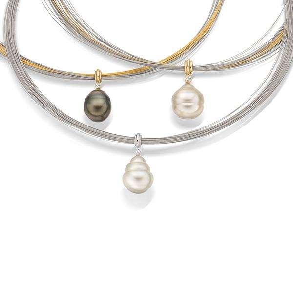Tahitian, South Sea pearl and diamond pendants set in 18 carat gold on stainless steel choker