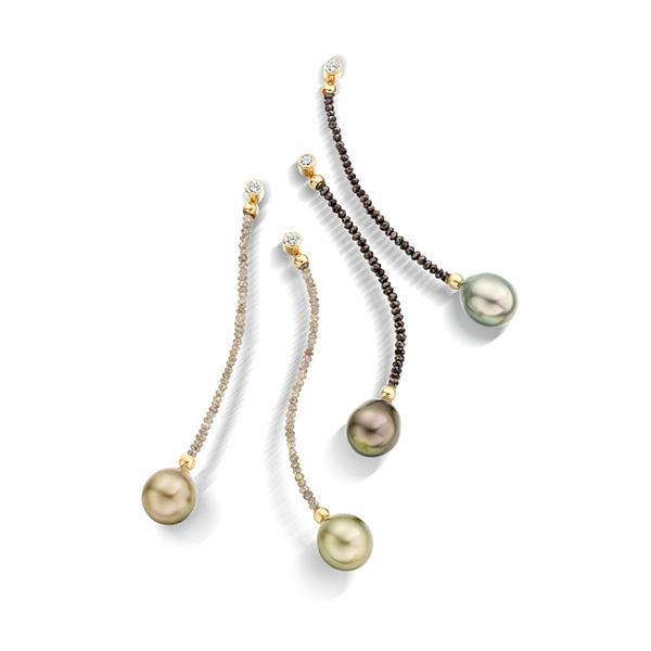 Tahitian pearls and diamond bead earrings in 18 carat gold