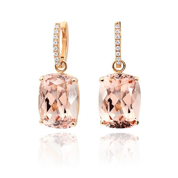 Morganie cushions with18 carat rose gold diamond hoops