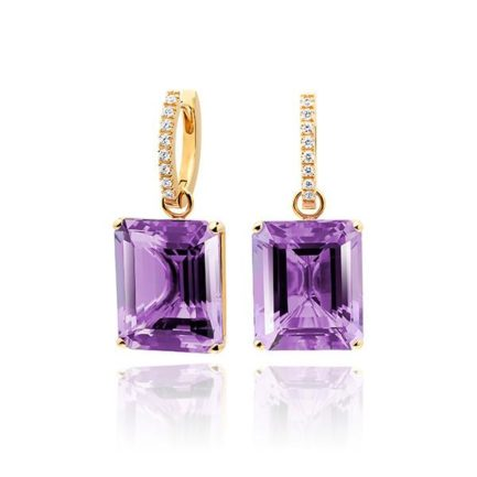 Amethyst with 18 carat gold diamond hoops