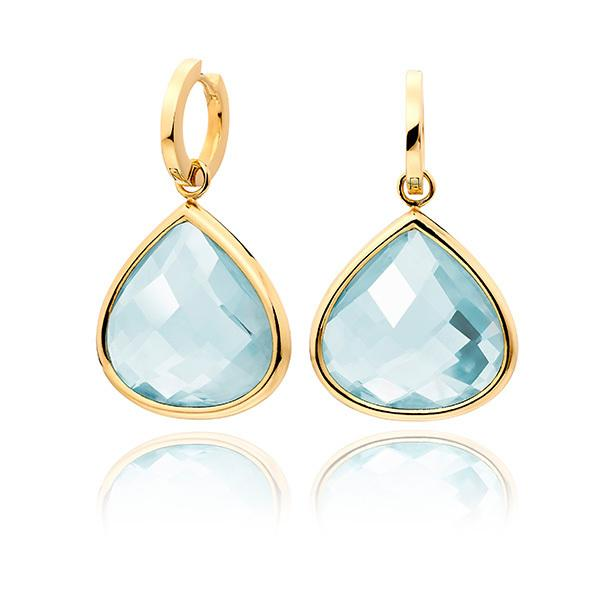 Aquamarine with plain18 carat gold hoops
