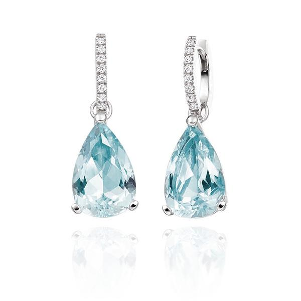 Aquamarine drops with diamond hoops in 18 carat white gold