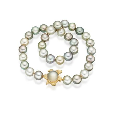 Tahitian pistachio pearls with interchangeable moonstone tortoise clasp in 18 carat gold