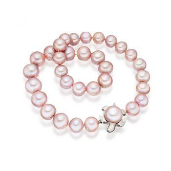 Lavender freshwater pearls with interchangeable tortoise clasp in 18 carat gold