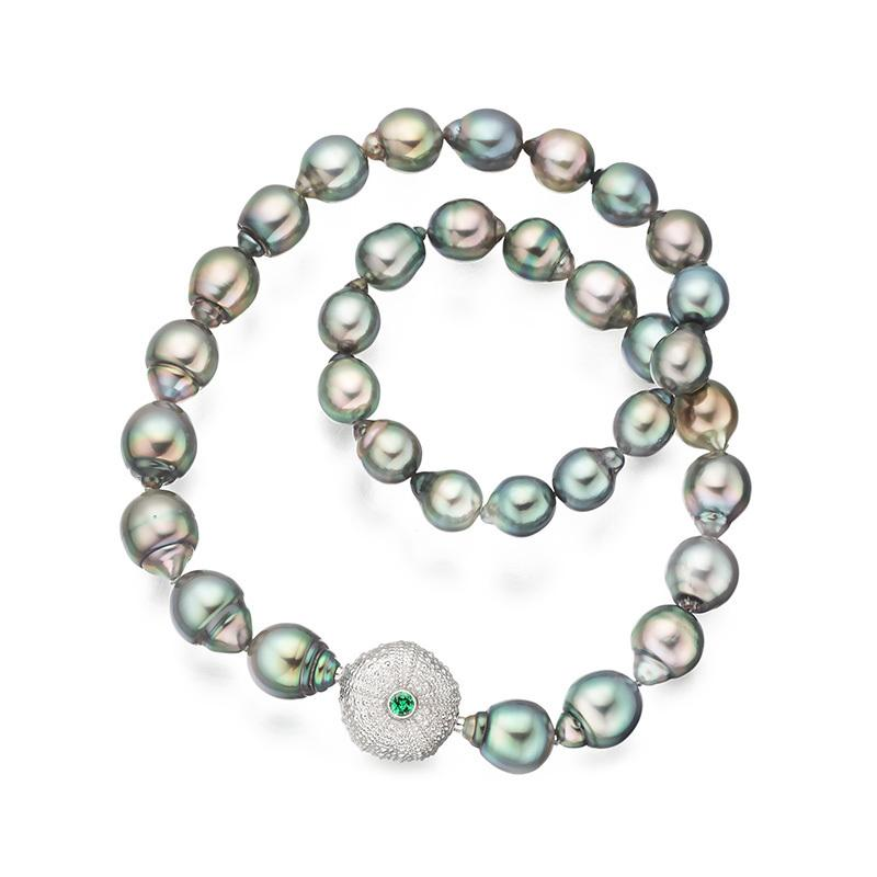 Tahitian multicolor pearls with interchangeable tsavorite sea urchin clasp in 18 carat gold