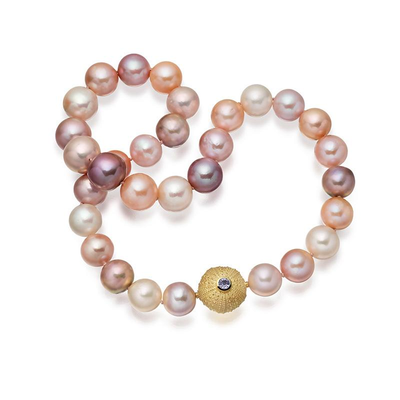 Freshwater pastel pearls with interchangeable sea urchin clasp in 18 carat gold