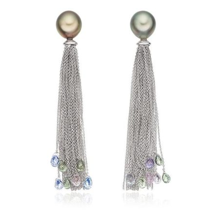 Tahitian pearl and multicolour sapphire briollete earrings in 18 carat gold